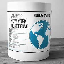 NEW YORK PERSONALISED HOLIDAY SAVINGS MONEY BOX TRAVEL FUND