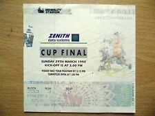 Tickets Stubs- 1992 CUP FINAL 29th March 1992