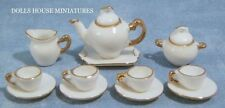 White & Gold Tea Set, Dolls House, Tableware, Dining Sets. Miniature, 1.12th