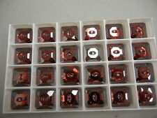 8 swarovski square crystal 2-hole sew on buttons,16mm red magma/M-foiled #3017