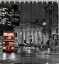 London SHOWER CURTAIN UK Red Bus Double Decker City Sights Black White Decor