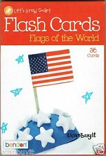 36ea FLAGS OF THE WORLD Round Corner Flash Cards By Bendon Grades K+ Ages 5+