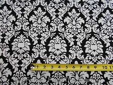 "White Damask Floral on Black 58"" inch wide BY YARDS Michael Miller Cotton Fabric"