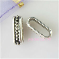 50 New Silver Tone Charms Dot Long Spacer Beads for DIY Crafts 4.5x14mm