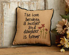 Country Primitive Love Between A Mother And Daughter Pillow