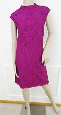 Nwt Donna Morgan Funnel Neck Lace Shift Dress Knee Length Sz 14 Violet, $178