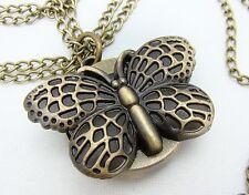 Antico Bronzo Tono Orologio al Quarzo Ciondolo Collana Catena con farfalla