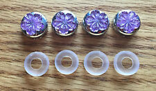 BLING Purple Flower Flatback Rhinestones on Chrome License Plate Screw Caps