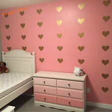 Gold Heart decals Kids room wall decor stickers - Set of 45 pieces