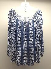 LUCKY BRAND Anthropologie NEW L/S BOHO Peasant CROCHET inset Tunic Top M