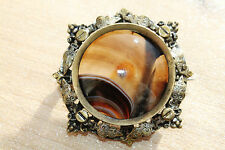STUNNING GEORGIAN ANTIQUE ORNATE RELIEF BANDED AGATE BOOK BROOCH PIN ~