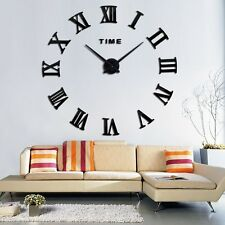 Large Roman Numerals Big Round Giant Numbers Wall Clock DIY Sticker Lounge Decor