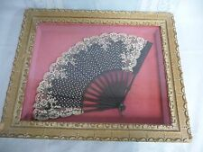 LOVELY VICTORIAN FRAMED FAN W/SEQUINS & LACE