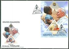 TOGO 2013  GREAT HUMANISTS POPE JOHN PAUL II  SOUVENIR SHEET FIRST DAY COVER
