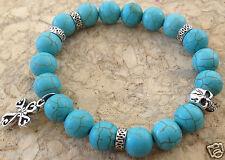 Silver Skull & Cross Turquoise Gemstone Beaded Stretch Bracelet Men