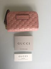 GUCCI Leather Micro Guccissima Zip Around Coin Purse Pink