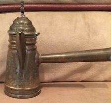 Antique Vintage Brass Dallah Middle Eastern Islamic Arabic Coffee Tea Pot w/Bird