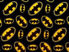 BATMAN LOGO SUPERHERO DC COMICS  100% COTTON FABRIC DARK KNIGHT CAMELOT  YARDAGE