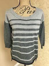 American Eagle Small Sweater Black Gray Silver Stripe Longer Back B1