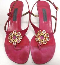Alberta Feretti - Pink Jeweled High Heel Thong Sandal Shoes - Size 9.5