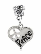 Peace Sign Heart 1960's 60's Word Large Dangle Charm for European Bead Bracelets