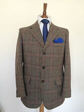 Aquascutum 100% Wool Brown Checked Blazer Tweed Suit Jacket 40S 3 Button