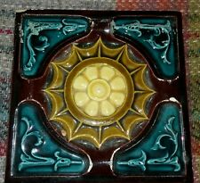 VICTORIAN MAJOLICA TILE - DECORATIVE ROUNDALS AND ACANTHUS LEAF BORDERS. LOVELY
