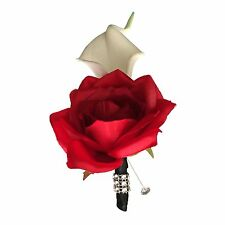 Boutonniere-Calla lily Rose Black ribbon and bling-pin included