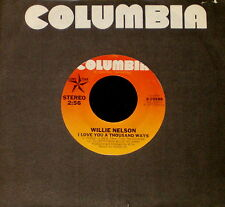 "WILLIE NELSON ""I LOVE YOU A THOUSAND WAYS/Mom & Dad"" Columbia 10588 (1977) 45rpm"