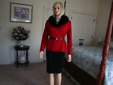 Angel Design By Sabre Ozel Red and Black w/ Fox Fur Collar Cardigan Size S