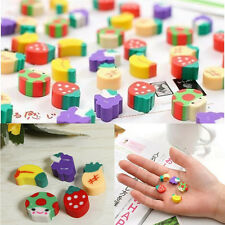 50Pcs Cute Mini Fruit Rubber Pencil Eraser Children Creative Stationery Gift Toy