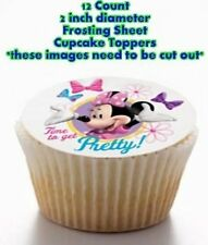 12 count MINNIE MOUSE Edible Image Cupcake  Toppers 2 INCH DIAMETER CIRCLES