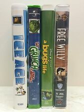 Lot 4 VHS Movies - Ice Age - Bug's Life - The Grinch - Free Willy ALL Clamshell