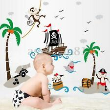 Removable Cute Monkey&Pirate Captain Tree Wall Sticker PVC Mural Kids Room HOT