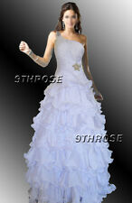 OWN THE STAGE! BEADED ONE SHOULDER FORMAL/EVENING/PROM/BALL GOWN WHITE AU20/US18