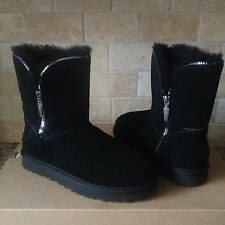 UGG Classic Short Florence Black Suede Sheepskin Boots US 8 Womens 1013165