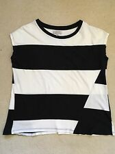 ZARA Trafaluc Thick Black & White Top With Cap Sleeves - Size S