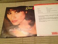 "GINA T - BIRDS OF PARADISE 7"" SINGLE GERMANY BELLAPHON 92 EURO POP + RADIO PRESS"