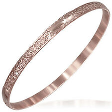 Stainless Steel Rose Gold-Tone Flowers Floral Design Womens Bangle Bracelet
