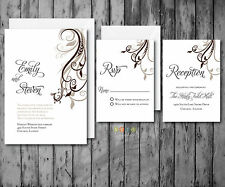 100 Floral Swirl Accent Wedding Invitations Suite With Envelopes