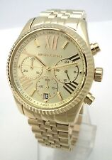 Michael Kors Ladies Lexington Chronograph GOLD Tone Stainless Steel MK5556 NEW