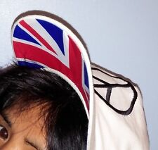 Union Jack Love Peace Sign Snow White Black Red White Blue Coloured Cap Fashion
