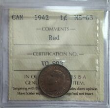 1942 Canadian One Cent Coin ICCS Graded MS-63 Red