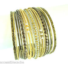 Chamak Sparkle Yellow & Clear Crystals Set of 17 Gold/ Brown Bangle Bracelets
