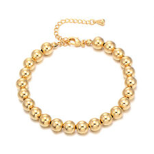 Charm Chain Bead European Bracelet Men Fashion Womens Yellow Gold Filled