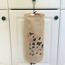 "Cow PLASTIC GROCERY BAG DISPENSER HOLDER STORAGE POLYESTER Beige 15"" x 6"" Open"