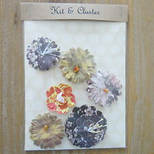 6 x shabby chic paper flower topper embellishments card making, lilac and purple