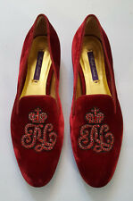 RALPH LAUREN QUINLY RED RUBY VELVET FLAT SHOE SIZE EUR 37.5B US 7B MADE IN ITALY