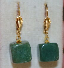VINTAGE QUALITY GORGEOUS 14K GOLD FILLED CUBE JADE  32MM LEVER BACK  EARRINGS