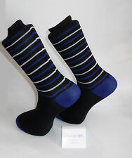 Black Socks with blue heel & toes with blue and white stripes design. Cotton Sox